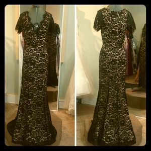 NWT black lace gown